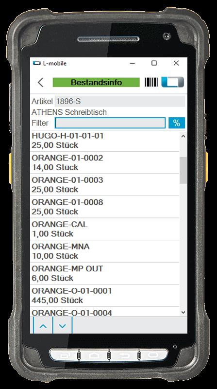 L-mobile warehouse ready for Microsoft Dynamics NAV und Business Central mobile Lagerverwaltung Basismodul mobile Bestandsinformation Lagerplatz