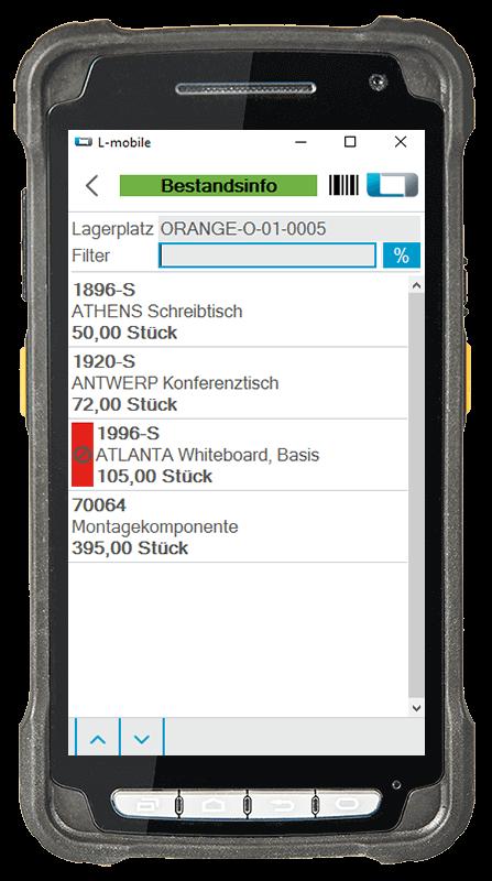 L-mobile Digitalisierte Lagerlogistik warehouse ready for NAV Basismodul Bestandsinformation mobile Oberfläche