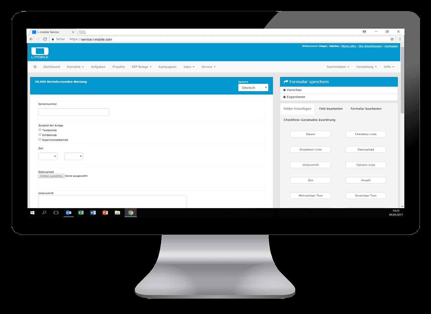 L-mobile Digitales Service Management Funktionen Dynamische Formulare Der Editor fuer Dynamische Formulare