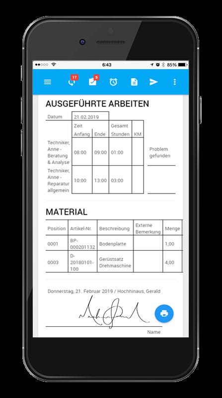 L-mobile Digitales Service Management Funktionen Serviceeinsatz Software Digitaler Servicebericht