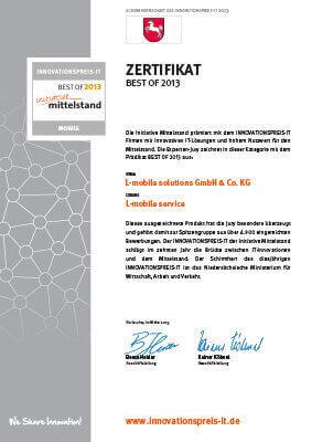 """L-mobile mobile Softwarelösung Zertifikat """"BEST OF 2013″ – innovative IT-Lösung mit hohem Nutzwert für den Mittelstand"""