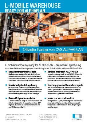 L-mobile mobile Softwarelösung Flyer L-mobile warehouse ready for ALPHAPLAN