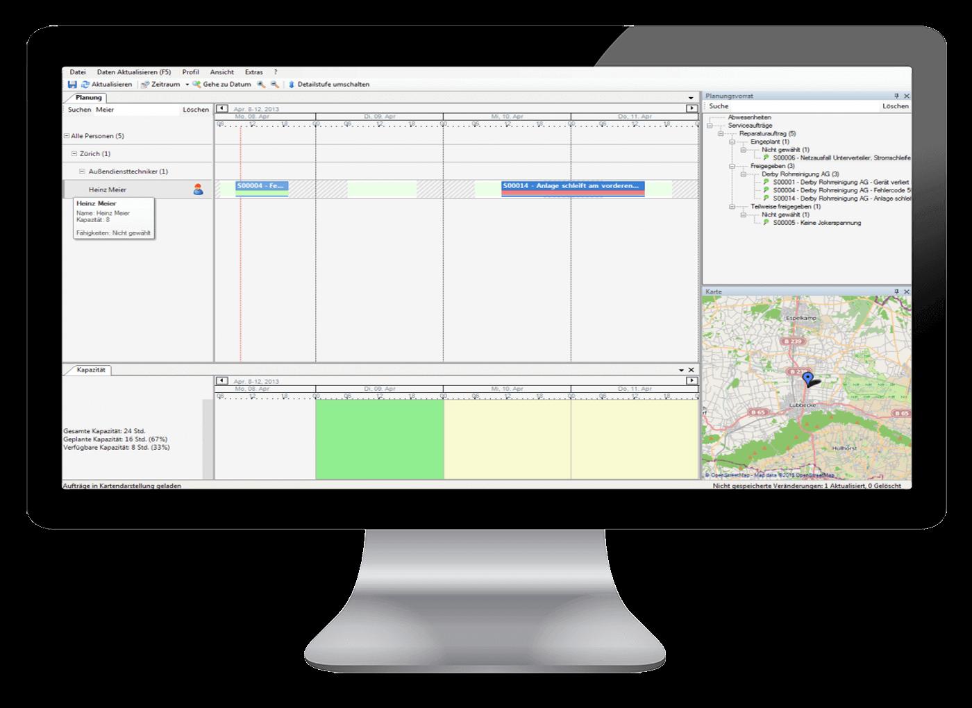 L-mobile Digitales Service Management Funktionen Grafische Personaleinsatzplanung techniker einsatzplanung software Mitarbeiter und Fähigkeiten klar im Blick