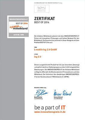 """L-mobile mobile Softwarelösung Zertifikat """"BEST OF 2014"""" innovative IT-Lösung mit hohem Nutzwert für den Mittelstand"""