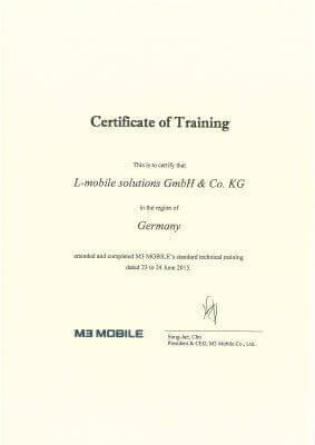 L-mobile mobile Softwarelösung Zertifikat M3 Mobile