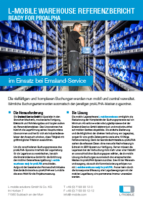 L-mobile mobile Softwarelösung Referenzbericht L-mobile warehouse ready for proALPHA Emsland-Service-GmbH