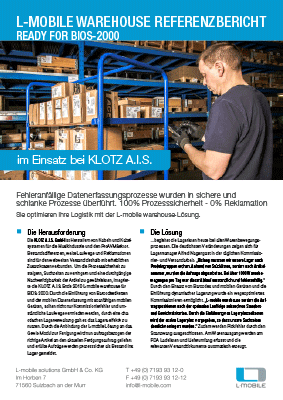 L-mobile mobile Softwarelösung Referenzbericht L-mobile warehouse KLOTZ A.I.S.
