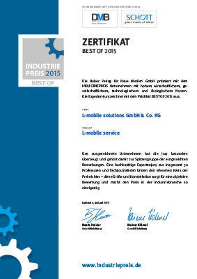 """L-mobile mobile Softwarelösung Zertifikat """"BEST OF 2015″ – INDUSTRIEPREIS"""