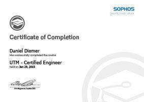 L-mobile mobile Softwarelösung Zertifikat SOPHOS Daniel Diemer UTM Certified Engineer