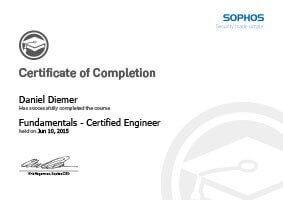 L-mobile mobile Softwarelösungen Zertifikat SOPHOS UTM Daniel Diemer Certified Engineer Training