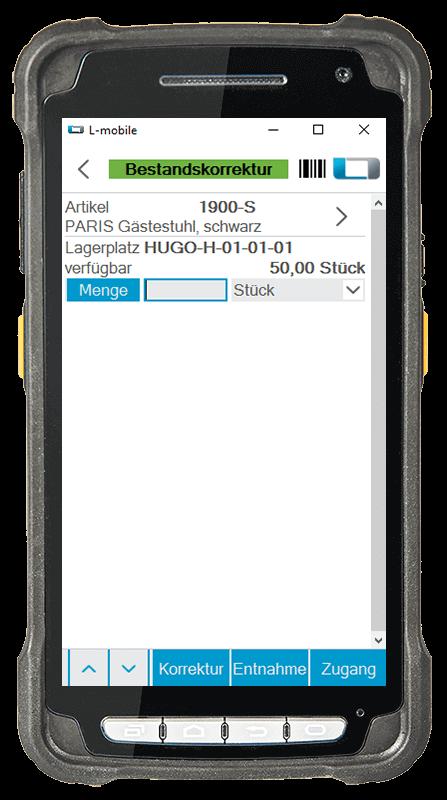 L-mobile warehouse ready for Microsoft Dynamics NAV und Business Central mobile Lagerverwaltung Basismodul mobile Bestandskorrektur