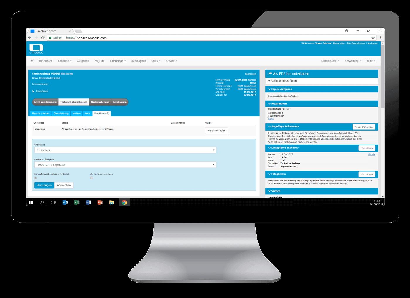 L-mobile Digitales Service Management Funktionen Dynamische Formulare Wie kommt die Checkliste in den Auftrag zum Mitarbeiter
