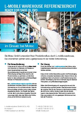 L-mobile mobile Softwarelösung Referenzbericht L-mobile warehouse ready for sage Ol Evo Motec GmbH