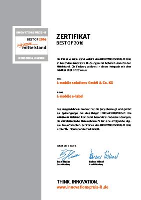 "L-mobile mobile Softwarelösung Zertifikat ""BEST OF 2016″ INNOVATIONSPREIS-IT"