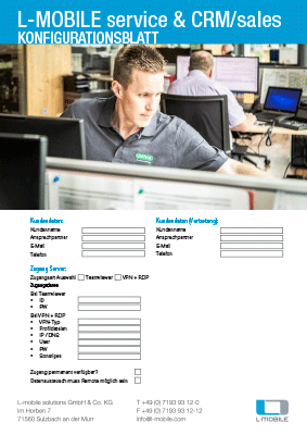 L-mobile mobile Softwarelösung Flyer L-mobile service & CRM/sales Konfigurationsblatt