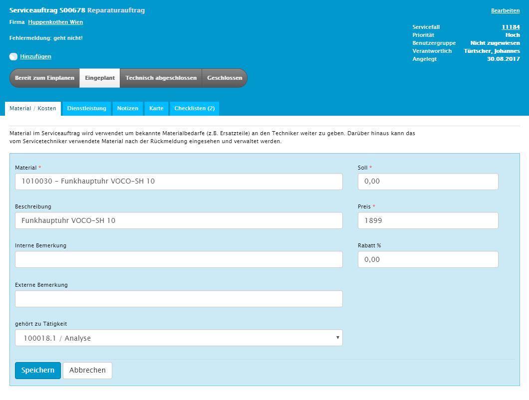 L-mobile Digitales Service Management Funktionen mobiler Serviceauftrag verwalten und abwickeln Materialerfassung
