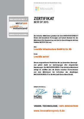 """L-mobile mobile Softwarelösungen Zertifikat """"BEST OF 2015″ innovative IT-Lösung mit hohem Nutzwert für den Mittelstand"""