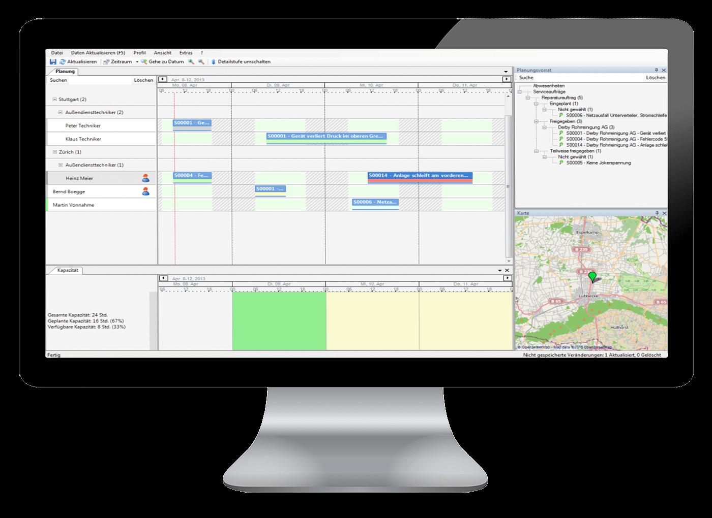 L-mobile Digitales Service Management Funktionen Grafische Personaleinsatzplanung techniker einsatzplanung software Alle Informationen auf einen Blick