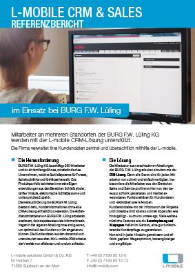 L-mobile mobile Softwarelösung Referenzbericht L-mobile CRM BURG F.W. Lüling