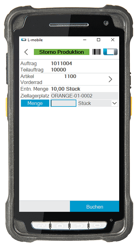 L-mobile warehouse ready for Microsoft Dynamics NAV und Business Central mobile Lagerverwaltung Basismodul mobile Storno Produktion