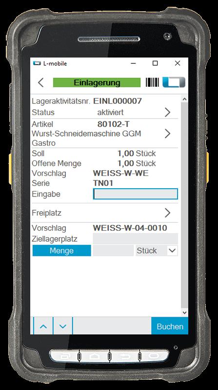 L-mobile Digitalisierte Lagerlogistik L-mobile ready for NAV Erweiterungsmodul Einlagerung mobile Oberfläche