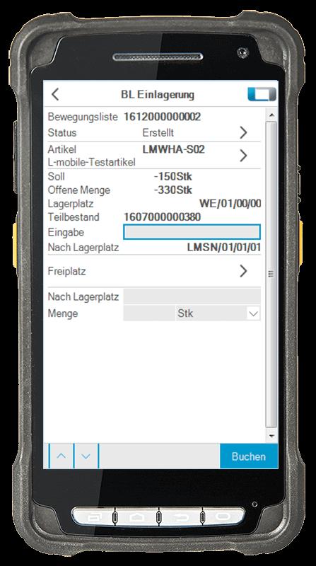 L-mobile Digitalisierte Lagerlogistik warehouse ready for SAP Erweiterungsmodul Einlagerung TA erstellen mobile Oberfläche