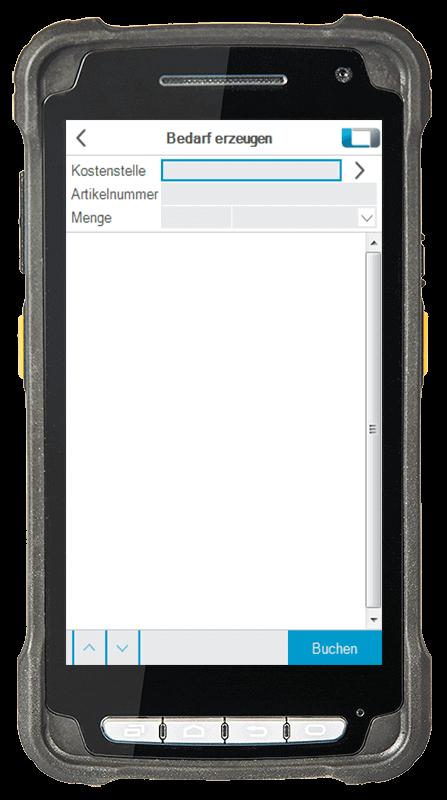 L-mobile Digitalisierte Lagerlogistik L-mobile ready for Infor COM Erweiterungsmodul Bedarf erzeugen mobile Oberfläche