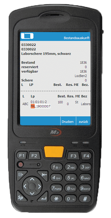 L-mobile Digitalisierte Lagerlogistik warehouse ready for infra:NET Anwendungsfunktion Bestandsinfo mobile Oberfläche