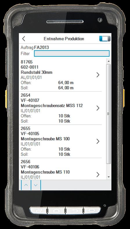 L-mobile Digitalisierte Lagerlogistik L-mobile ready for Infor COM Basismodul Entnahme Produktion mobile Oberfläche