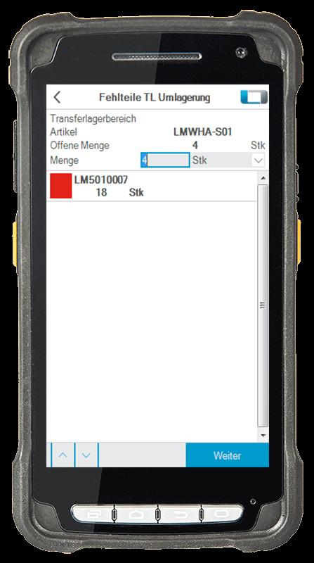 L-mobile Digitalisierte Lagerlogistik L-mobile ready for Infor COM Erweiterungsmodul Fehlteile TL Umlagerung mobile Oberfläche