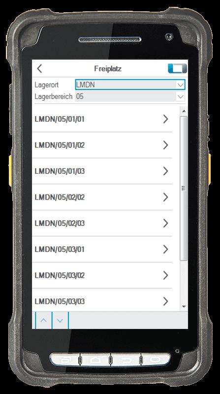 L-mobile Digitalisierte Lagerlogistik L-mobile ready for Infor COM Erweiterungsmodul Freiplatzsuche mobile Oberfläche