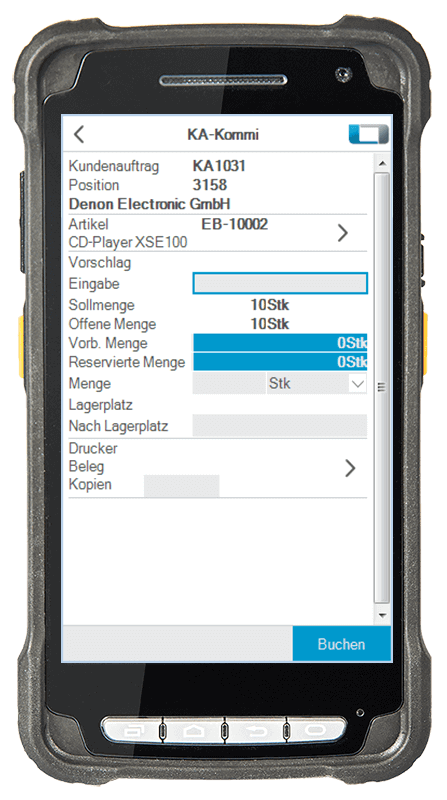 L-mobile Digitalisierte Lagerlogistik L-mobile WMS Funktionsübersicht Warenausgang und Kommissionierung mobile Oberfläche