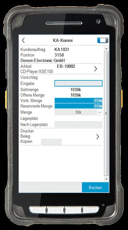 L-mobile Digitalisierte Lagerlogistik warehouse ready for sage OL Evo Basismodul Kommissionieren auf Kundenaufträge mobile Oberfläche