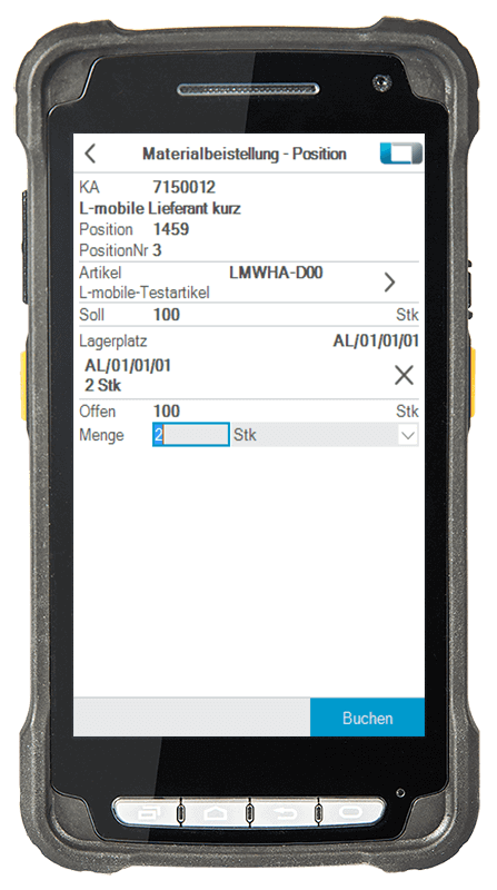 L-mobile Digitalisierte Lagerlogistik L-mobile ready for Infor COM Basismodul Materialbeistellung mobile Oberfläche