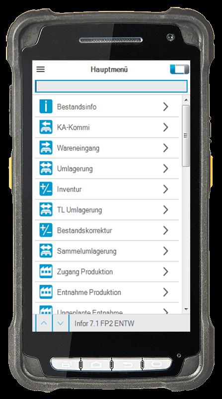 L-mobile Digitalisierte Lagerlogistik warehouse ready for Infor COM mobile Oberfläche