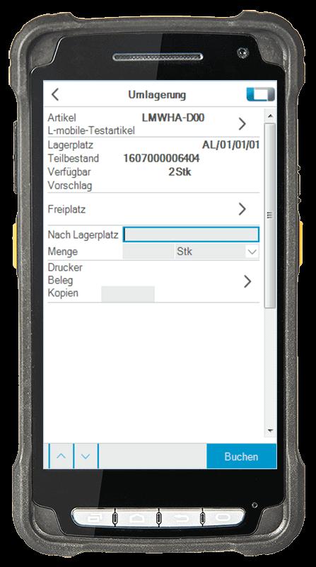 L-mobile Digitalisierte Lagerlogistik warehouse ready for SAP Basismodul Umlagerung mobile Oberfläche