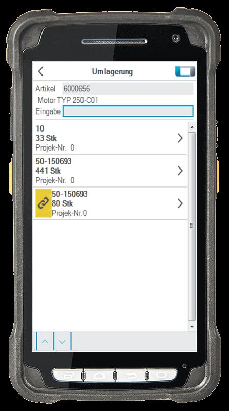 L-mobile Digitalisierte Lagerlogistik L-mobile ready for proALPHA Basismodul Umlagerung mobile Oberfläche