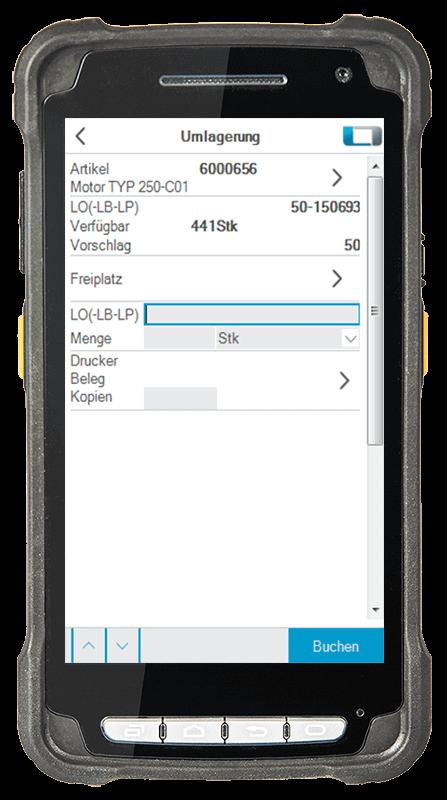 L-mobile digitalizált raktárlogisztika L-mobile ready for proALPHA alapmodul Átraktározás mobil felület