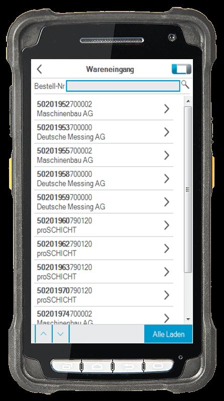 L-mobile digitalizált raktárlogisztika L-mobile ready for proALPHA alapmodul Áruátvétel mobil felület