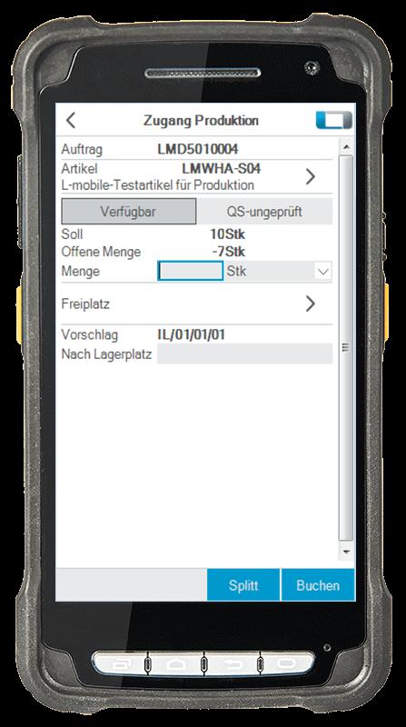L-mobile Digitalisierte Lagerlogistik warehouse ready for SAP Erweiterungsmodul Zugang aus Fertigung mobile Oberfläche