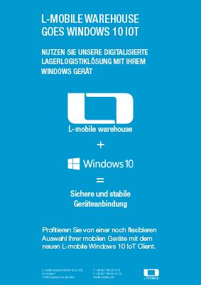 L-mobile mobile Softwarelösung Flyer L-mobile warehouse Windows 10 IoT Client