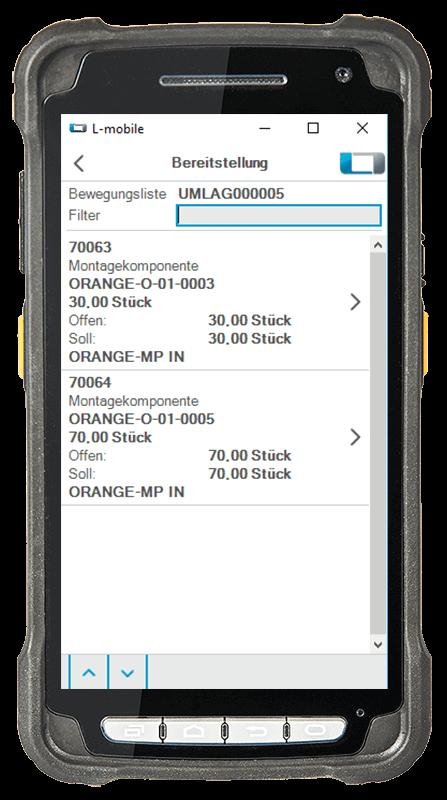 L-mobile Digitalisierte Lagerlogistik L-mobile ready for NAV Erweiterungsmodul Bereitstellung mobile Oberfläche