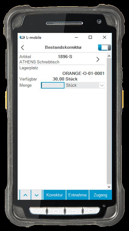 L-mobile Digitalisierte Lagerlogistik warehouse ready for AX Erweiterungsmodul Bestandskorrektur mobile Oberfläche