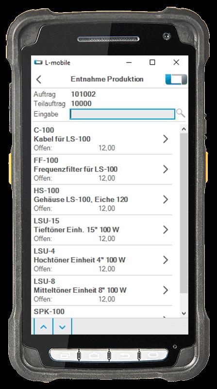 L-mobile Digitalisierte Lagerlogistik warehouse ready for AX Erweiterungsmodul Entnahme für Produktion mobile Oberfläche