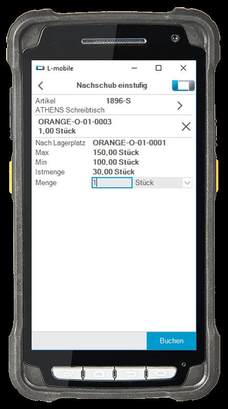 L-mobile Digitalisierte Lagerlogistik L-mobile ready for MS Dynamics Erweiterungsmodul Nachschub einstufig mobile Oberfläche