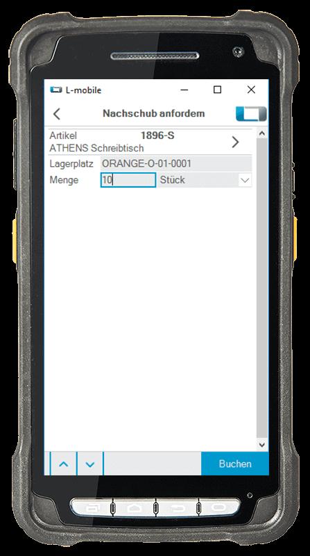 L-mobile Digitalisierte Lagerlogistik L-mobile ready for NAV Erweiterungsmodul Nachschub anfordern mobile Oberfläche