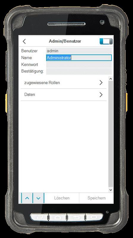 L-mobile Digitalisierte Lagerlogistik warehouse ready for sage OL Evo Basismodul Rollenverwaltung und Benutzerrollen mobile Oberfläche