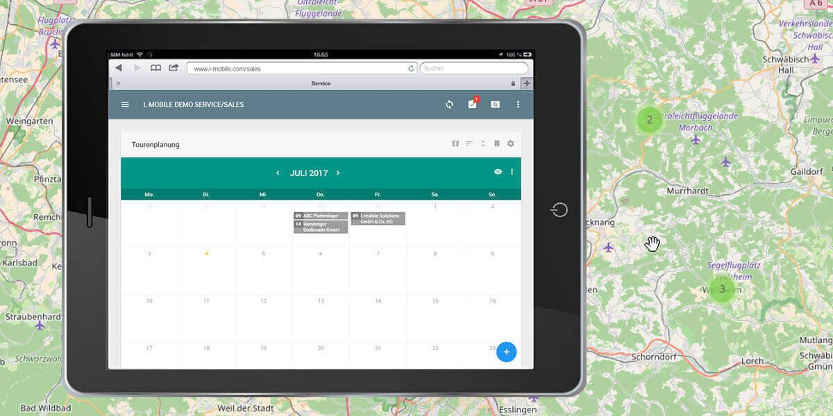 L-mobile Mobiler Vertrieb Infothekbeitrag Tourenplanung im Aussendienst nahtlos integriert ins CRM