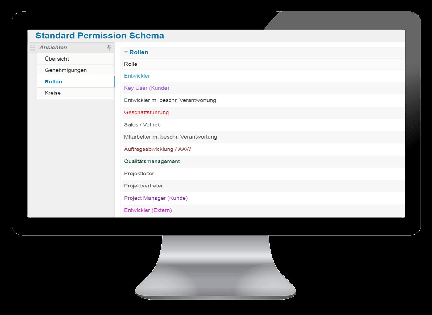 L-mobile Vernetztes Projektmanagement Projektplanung Funktionen Berechtigungsmanagement Rollen