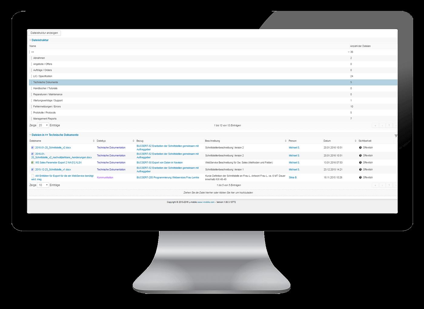 L-mobile Vernetztes Projektmanagement Projektplanung Funktionen Dokumentenmanagement
